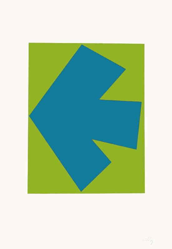 Trykk av pil i grønt og blått