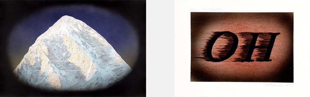 To verk av Ed Rusha, et fjell og trykk av ordet OH
